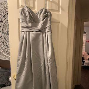 Silver-gray spaghetti strap formal gown